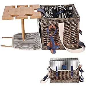 Picnic Basket Set - Removable Bamboo Table - Cotton Canvas Top Cover [4 Person Set] Waterproof Picnic Blanket, Ceramic Plates, Metal Flatware, Wine Glasses S/P Shakers Wooden Bottle Opener Picnic Set