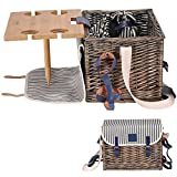 VAULTSAC Picnic Basket Set - Removable Bamboo Table - Cotton Canvas Top Cover [4 Person Set] Waterproof Picnic Blanket, Ceramic Plates, Metal Flatware, Wine Glasses Wooden Bottle Opener Picnic Set