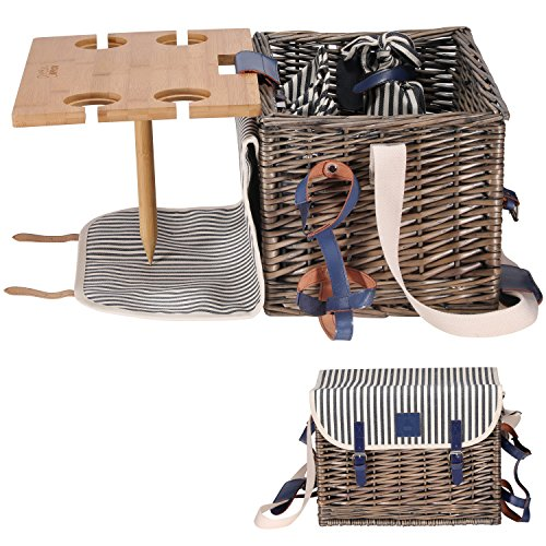 Picnic Basket Set - Removable Bamboo Table - Cotton Canvas Top Cover [4 Person Set] Waterproof Picnic Blanket, Ceramic Plates, Metal Flatware, Wine Glasses S/P Shakers Wooden Bottle Opener Picnic Set (Apron Picnic)