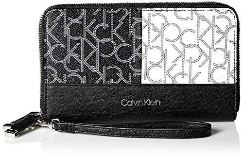 Calvin Klein Key Item Monogram Large Zip Around Wallet, Black/White