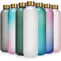 Opard - Botella de agua motivacional de 946 ml con marcador de tiempo para beber, botella de plástico reutilizable con…