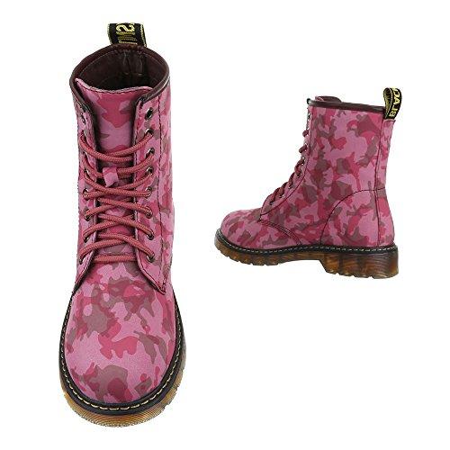 Ital-Design - Botas Militar Mujer Rosa