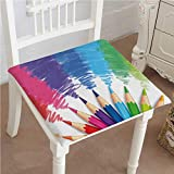 Mikihome Dining Chair Pad Cushion Welcome Back to School Phrase with Crayons and Pencils Student Design Fashions Indoor/Outdoor Bistro Chair Cushion 26''x26''x2pcs