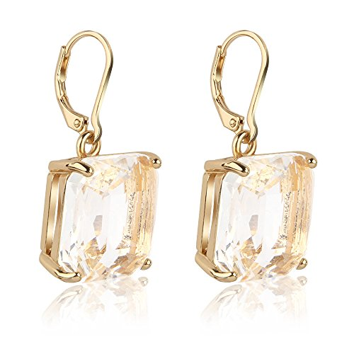 Jardme Gold Plated Drop Earrings Bezel with Square Cubic Zirconia Dangle Earrings For Evening,Party(0.75in) ()