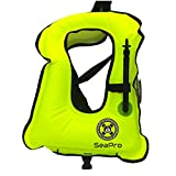 Inflatable Snorkel Vest   Scuba Diving Vest   Canvas Life Jacket   Scuba Safety Vest   Adult Aquatics Life Jacket - Swimming Boating Snorkeling and Diving Outdoor Essentials (Yellow)