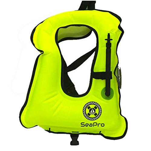Inflatable Snorkel Vest | Scuba Diving Vest | Canvas Life Jacket | Scuba Safety Vest | Adult Aquatics Life Jacket - Swimming Boating Snorkeling and Diving Outdoor Essentials (Yellow)