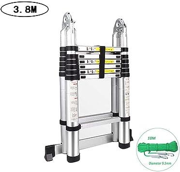 1.9M 1.9M + telescópica Escalera, Escaleras telescópicas bricolaje aluminio portable plegable portátil escaleras de extensión Paso recto extensible Carga 150kg Capacidad escaleras caracol RVTYR: Amazon.es: Bricolaje y herramientas