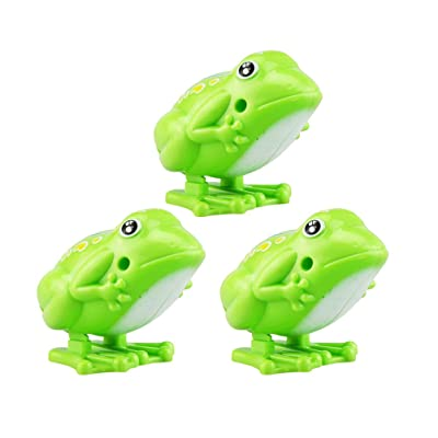 Toyvian Bouncing Wind-Up Frog Toys Kids Clockwork Toy Classic Fun Toys Gift for Children 3 Pieces: Toys & Games