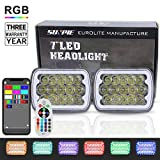 5x7 or 7x6 Sealed Beam Headlights with RGB Halo H6054 LED Headlights Replace any Rectangular Style Lamp Housing for Pontiac Fiero 84-88 or C4 Chevy Corvette 84-96, Jeep XJ or YJ,Pack of 2