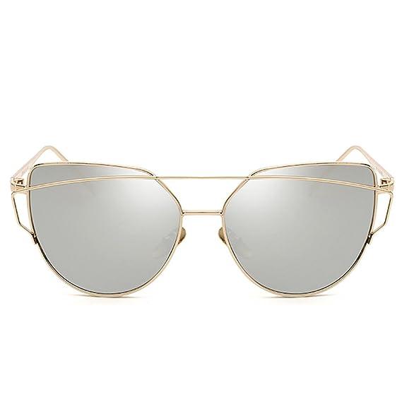 Quceyu Lunettes de soleil pour femmes Fashion Cat Mirror Frame Retro Classique Flat Mirror Lunettes de soleil(Bleu/Golden) IvOfZ