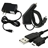 Combo Rapid Car Charger + Home Wall Charger + USB Data Charge Sync Cable for Spring HTC EVO 4G Sprint