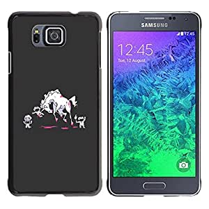 Caucho caso de Shell duro de la cubierta de accesorios de protección BY RAYDREAMMM - Samsung GALAXY ALPHA G850 - Monsters Cartoon Art Blood