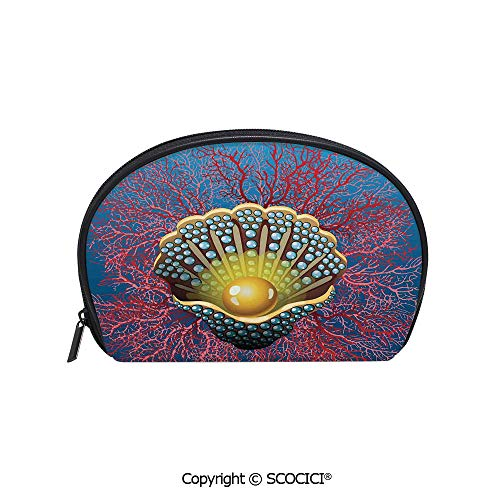 SCOCICI Polyester Printed Cosmetic Bag Storage Bag Giant Majestic Unique Pearl Mussel and Ivy Coral Deep Down in the Sea Art Print Makeup Bag Toiletry Pouch