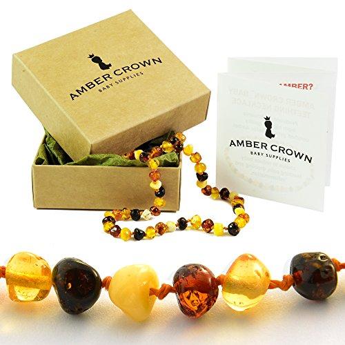 Ambre Collier de dentition pour bébés - Anti inflammatoire, baver et remède naturel - polis multicolore de réduire la douleur de dentition certifié perles ambres baltes