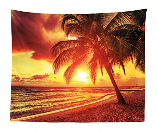 King Bed Island (Lunarable Beach Tapestry King Size, Sunset at The Calm Beach Palms Exotic Caribbean Island Barbados Scenic View, Wall Hanging Bedspread Bed Cover Wall Decor, 104 W X 88 L Inches, Yellow Orange)