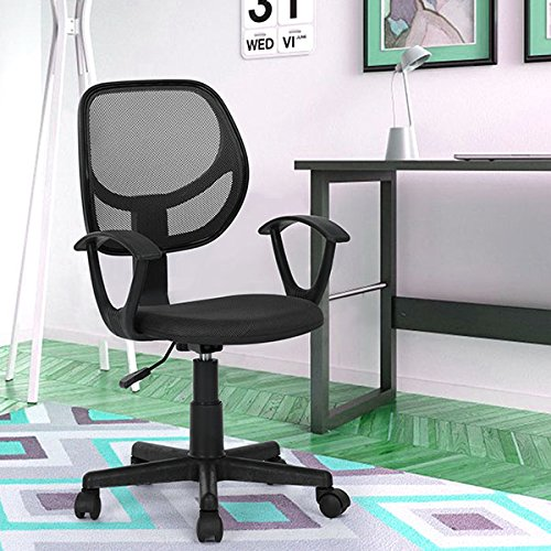 Black Office Task Desk Chair Adjustable Mid Back Home Children Study Chair