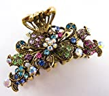 New Style Multi-color Crystal Bronze Metal Alloy Flower Hair Claws Clips Pins #86 by beautyxyz