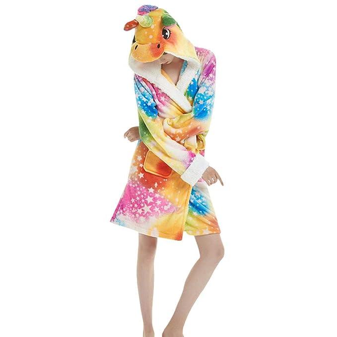 LSERVER Bata de Casa Ropa de Dormir de Franela Estilo Albornoz Disfraz Pijama de Animales Cosplay