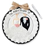 Bride & Groom Personalized Wedding Plate with Marker