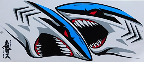 by soljo Shark blue Flames Fire Sticker Decal Tuning 1 Sheet: 35 cm x 15 cm for Sports Skateboard Bicycle Motorbike Car etc