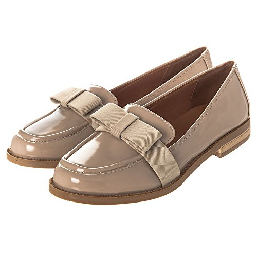 Womens Loafer Shoes Flat Block Heel Classic Patent Loafers With Fabric Bow On Front Size 3 4 5 6 7 8 NUDE PATENT 9VghC7d
