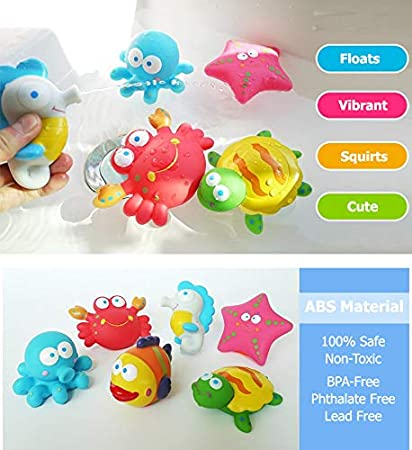 Toddlers Bathtime Boat Party Fun Floating Squeeze and Squirt Bathtub Squirters Ideal Toys for Kids Liberty Imports Water Bath Squirties Babies