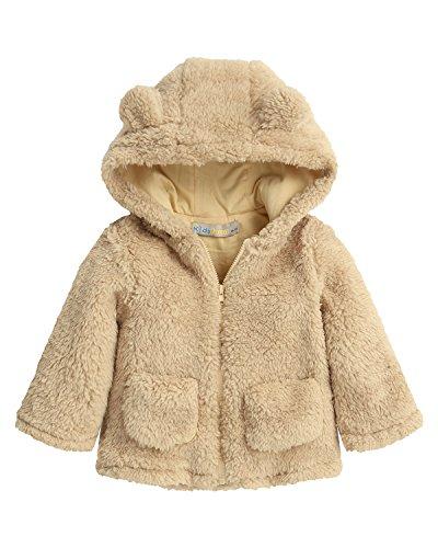 (Kidsform Baby Girls Boys Fleece Hoodie Jacket Coat Cloak Winter Warm Outwear Cardigan with Ears Beige 2-3Y)