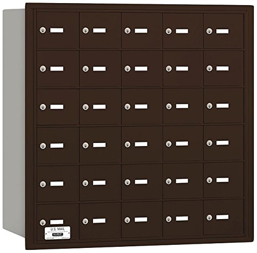 Salsbury Industries 3630ZRU 4B Plus Horizontal Mailbox, 30 A Doors, Rear Loading, USPS Access, Bronze