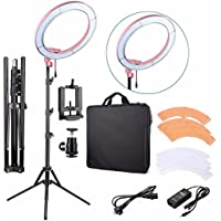 EACHSHOT ES240 Kit, Including Light, Stand, Phone Clamp, Tripod Head 240 LED 18 Stepless Adjustable Ring Light Camera Photo/Video Portrait photography 240pcs LED 5500K Dimmable (Pink)