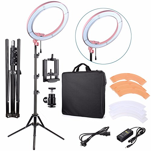 EACHSHOT ES240 Kit {Including Light, Stand, Phone Clamp, Tripod Head }240 LED 18'' Stepless Adjustable Ring Light Camera Photo/Video Portrait photography 5500K Dimmable (Light Stand Included) -Pink by EACHSHOT