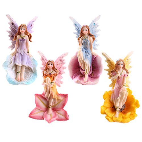 Set of 4 Flower Fairies Garden or Home Ornament Enchanted Fairy -