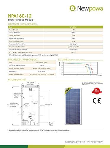 Newpowa 160 Watts 12 Volts Polycrystalline/175 Watts 12 Volts Monocrystalline Solar Panel kit(160W/175W) (160W) by Newpowa (Image #1)