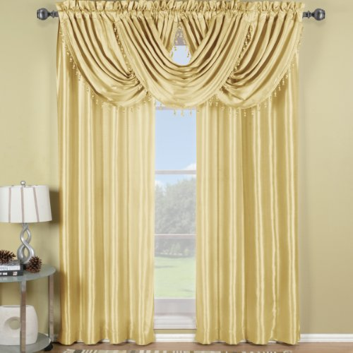 Swags Treatments Window (Elegance Solid Rod Pocket Window Treatment- Panels, Valances and Scarves. Available in various colors and sizes to enhance your home décor. 70X17 IN Each Waterfall Valance , Ivory)