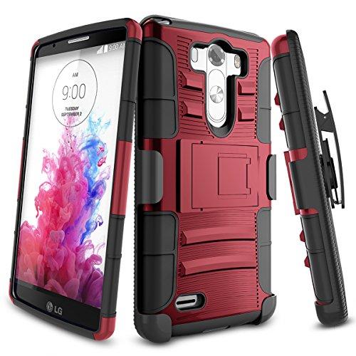 LG G3 Case,TILL [Knight Armor] Heavy Duty Full-Body Rugged Holster Resilient Armor Case [Belt Swivel Clip][Kickstand] Combo Cover Shell for LG G3 Phone AT&T T-Mobile Sprint Verizon Unlocked [Red] (Otter Box For Sprint Lg G3)