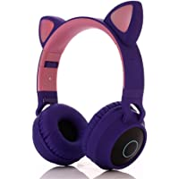 NBJ Wireless Bluetooth 5.0 Headphones, Cartoon Style Cute Over-ear Headset FM Radio TF Card Reading 3.5mm Wired Earphone Hands-Free With Microphone For Smart Phone Laptops Men Kids Women,Cat