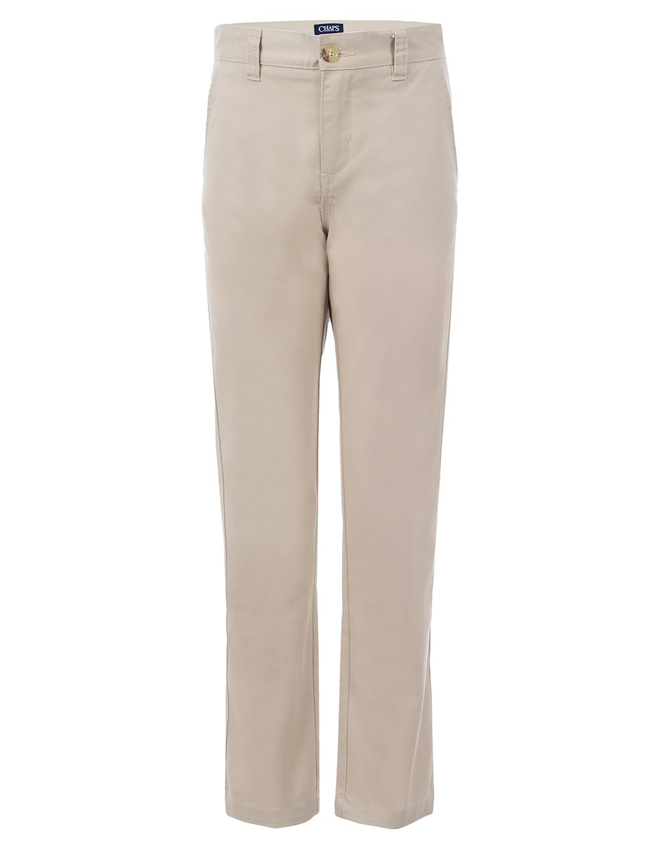 Chaps Boys' Big Flat Front Twill Pant with Stretch, Khaki, 14 by Chaps (Image #1)