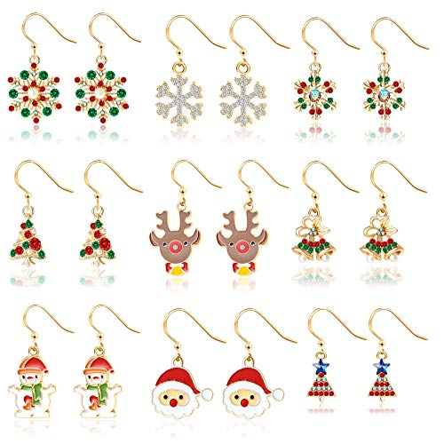 (Christmas Drop Dangle Earrings Gift for Womens Girls Kids Thanksgiving Holiday Jewelry Set Christmas Snowman Snowflake Sock Santa Claus Christmas Tree deer Bell Xmas Jewelry(9 pairs))