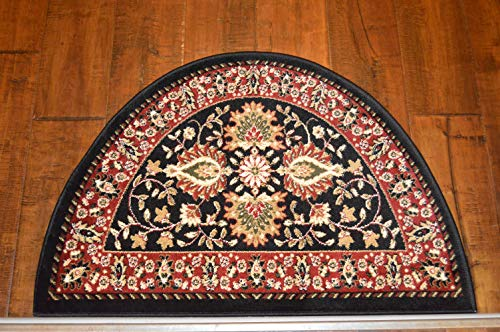 2'2'' x 3'3'Traditional Design Hearth Slice Rug Black Red Fireplace Lodge Cabin Doormat by Premier