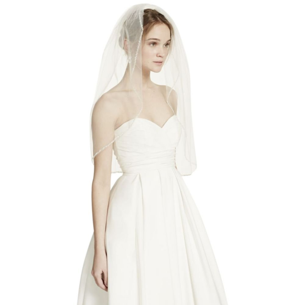 Bridal Elbow Length Veil, 1 Tier with Beaded Edge Style VMP9573, Ivory by David's Bridal