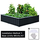 Cheap Extra-thick 2-Ply Reinforced Card Frame Elevated Raised Garden Bed Kingbird Galvanized Steel Planter Kit Box Grey 67.2″x 67.2″x 11.8″ +8pcs T-types Tag & 1 Gloves