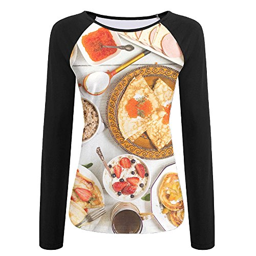 Womens Russian Breakfast Comfy Raglan Long Sleeve Tshirts Soft Quick-dry Pullover Sweatshirt For Athletic Jogging Hiking Baseball Jersey Tee Shirt
