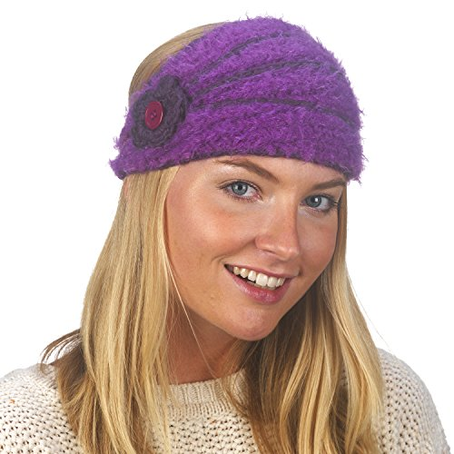 FU-R Headwear Women's Flora Hand Knit Lightweight Headband, Purple, One Size