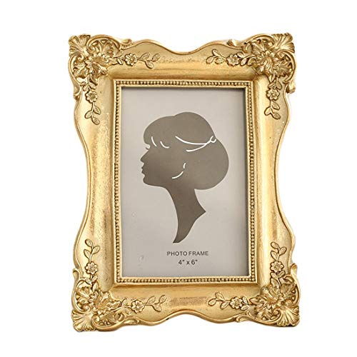 SIKOO Vintage Picture Frame 4x6 Antique Tabletop Wall Hanging Photo Frame with Glass Front for Home Decor (Gold) ()
