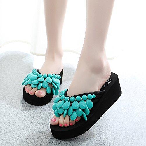 Zapatillas Señoras calzado de playa, mujer Sandalias y chanclas, moda, zapatillas antideslizante inferior grueso Green