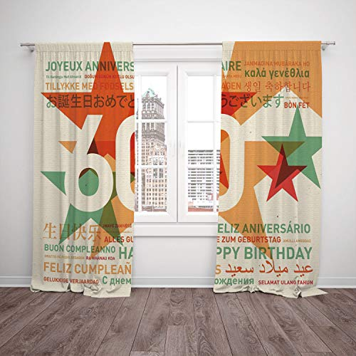 (SCOCICI Satin Window Drapes Kitchen Curtains [ 60th Birthday Decorations,World Cities Birthday Party Abstract Stars,Green Vermilion White] Bedroom Living Room Dorm Kitchen)