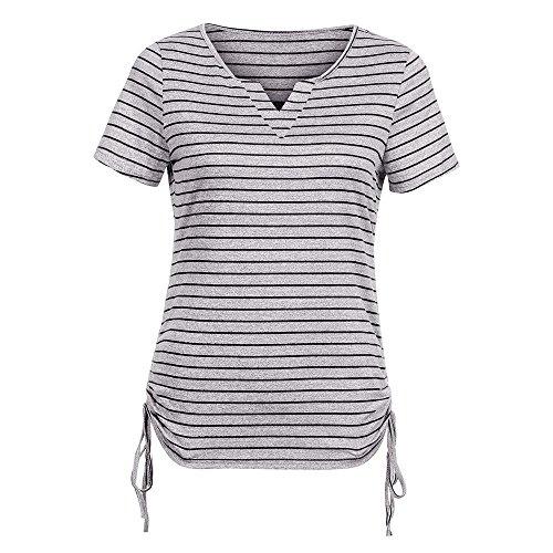 Aniywn Women's Casual V-Neck Short-Sleeved Top Loose Side Drawstring Tie Horizontal Striped (Mandarin Stripe Tie)