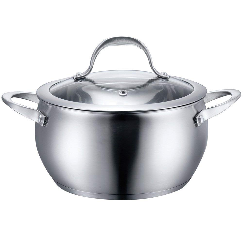Stainless Steel Cookware Sauce Pot with Lid (4 QT)