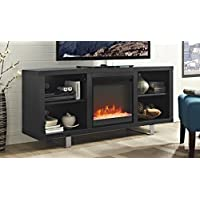 WE Furniture 58' Simple Modern Fireplace TV Console - Black