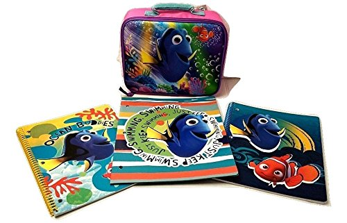 [Todder Kids Finding Dory Nemo Back to School Pre-school Elementary Girls Backpack Lunch Box Notebook Bundle Mega Toy Figure 4 Piece] (Homemade Disney Character Costumes Adults)