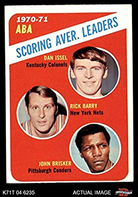 1971 Topps # 147 ABA Scoring Average Leaders John Brisker/Dan Issel/Rick Barry Kentucky/New York/Pittsburgh Colonels/Nets / Condors (Basketball Card) Dean's Cards 4 - VG/EX Colonels/Nets / Condors